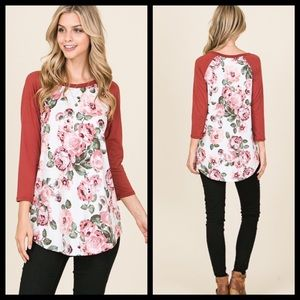 Tops - Buttery soft ivory and floral top- new never worn